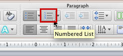 Numbered List button within Home tab of the Ribbon