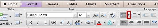 The Bulleted List button in the Home tab of the Ribbon