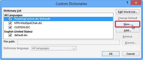 Custom Dictionaries dialog box