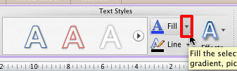 Fill button within Text Styles group