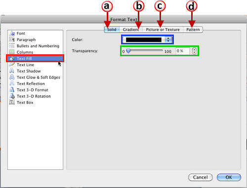 Text Fill options within Format Text dialog box