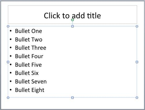 Placeholder with bulleted paragraph selected