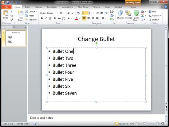 Slide with bulleted text