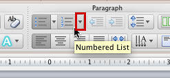 Numbered List button within the Home tab of the Ribbon
