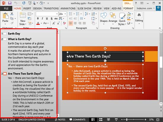 Outline view within PowerPoint 2013 interface