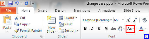 Change Case button within the Font group