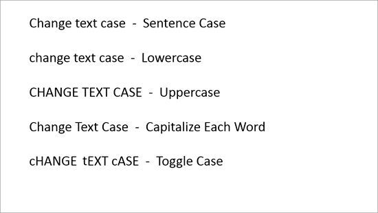 Text applied with various Text Case options