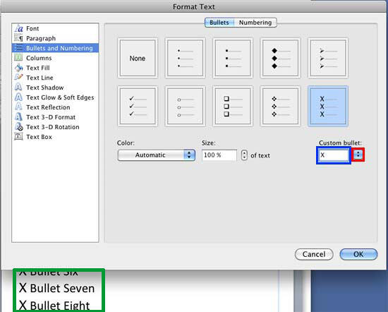 Bullet editing options within the Format Text dialog box