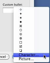 Character option within the Custom bullet list