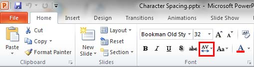 Character Spacing button within the Font group