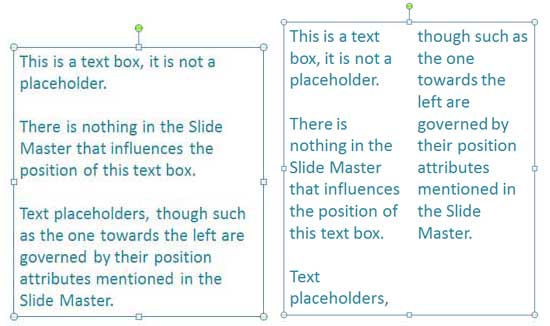 Compare the same text container with and without columns