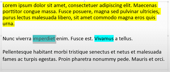 Highlighted text is selected