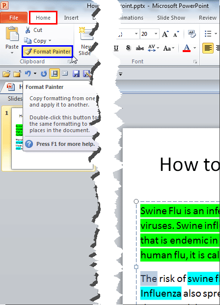 Non-highlighted text selected