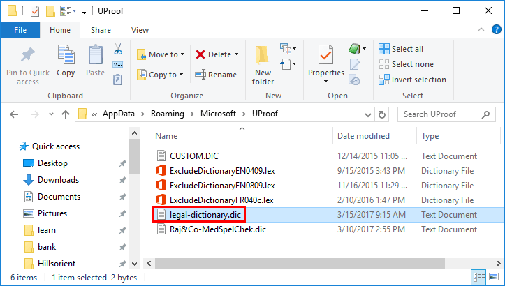 New dictionary file accessed within the windows explorer