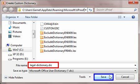 Create Custom Dictionary dialog box