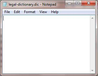 New dictionary file opened in Notepad