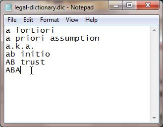 New dictionary with words added