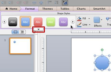 Shape Styles within the Format tab