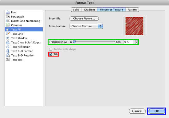 Tile check-box selected within the Format Text dialog box