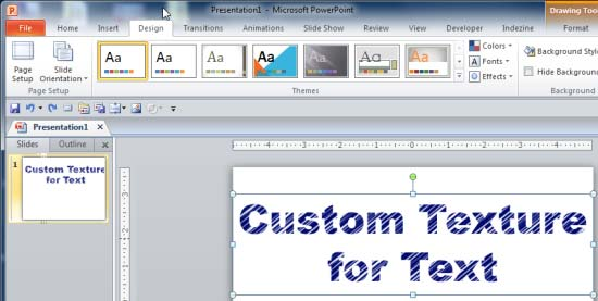 Text with a custom texture fill applied