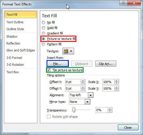 Picture or texture fill options within Format Text Effects dialog box