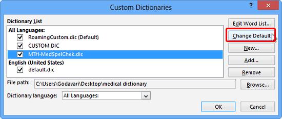 Change Default button