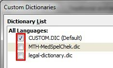 Enable/disable custom dictionaries for spell check