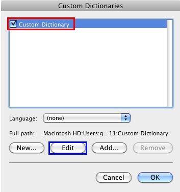 Custom Dictionaries dialog box displaying list of dictionaries