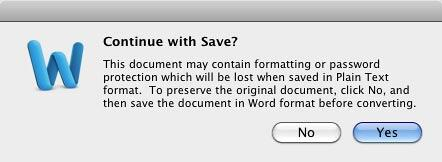 Confirmation to save your Dictionary document