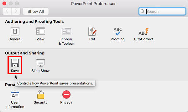 Save option within PowerPoint Preferences dialog box