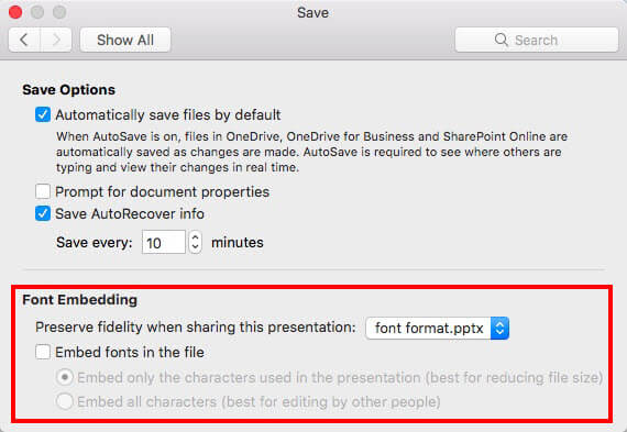 Font embedding options within Save dialog box