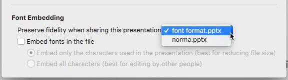 Choose the presentation for font embedding