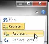 Replace button drop-down menu