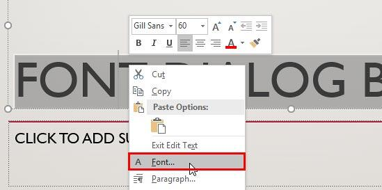 Font option selected