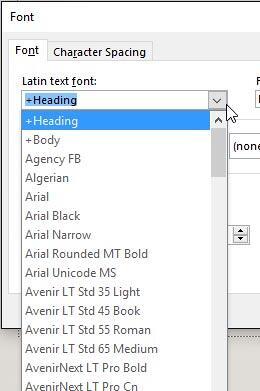Font typeface drop-down list