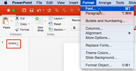 Format | Font menu option