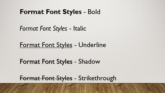 Font Styles applied to the text