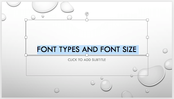 Text selected on the slide