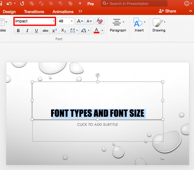 Type font name within the Font box