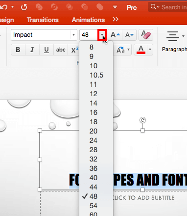 Font Size drop-down gallery