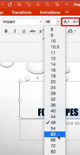 Font Size being changed