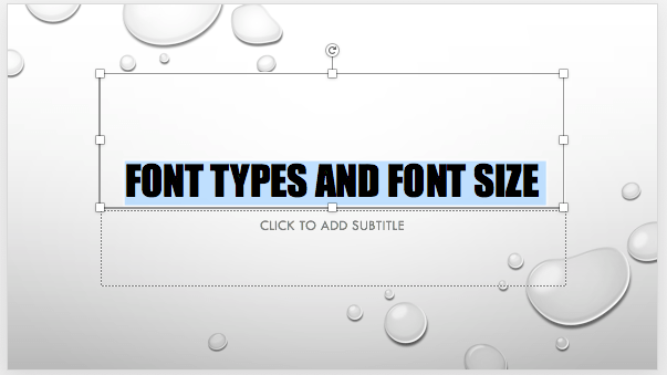 Font type and size changed