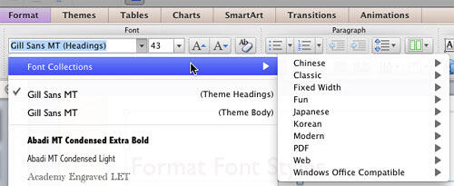 Font Collections option within Font drop-down gallery