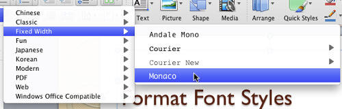 Font type Monaco being selected within the Fixed Width category