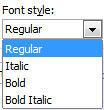 Font style drop-down list