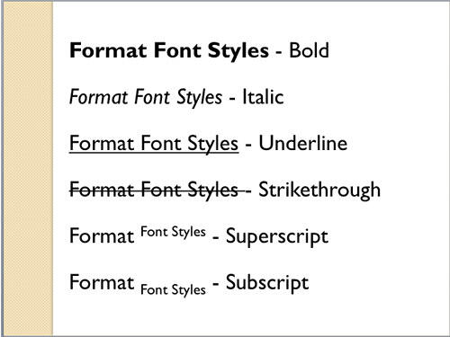 Various Font Styles applied to the text
