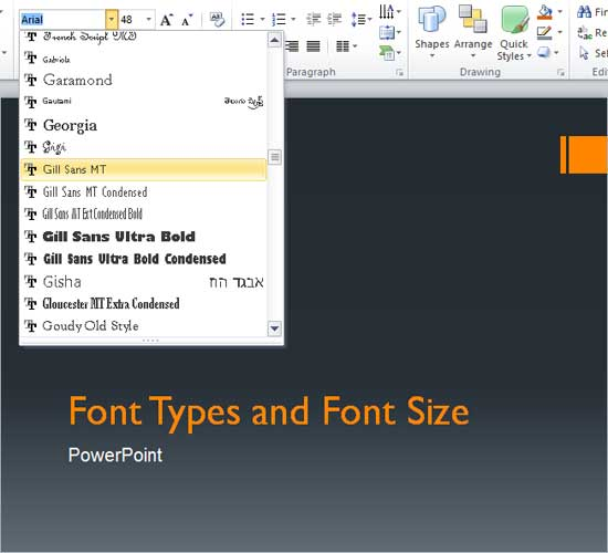 Gill Sans MT font type being selected