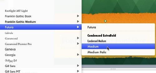 Medium variation of Futura font type being selected