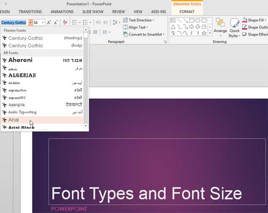 Arial font type being selected