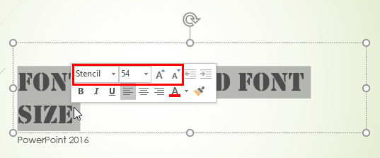 Font type and size options within Mini Toolbar